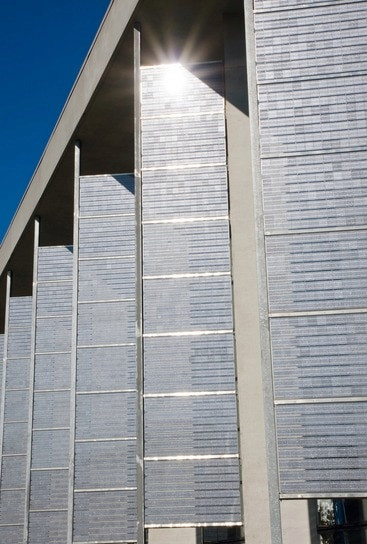 A building with a BIPV facade installation.