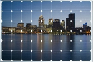 solar panel with city reflected