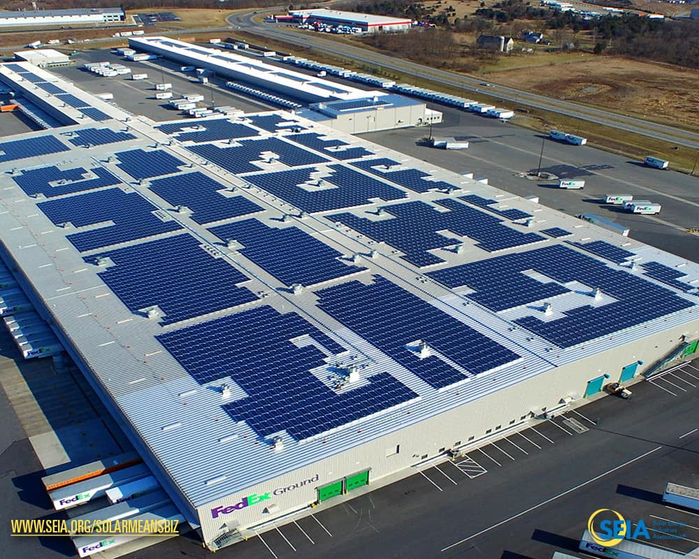 the 27 mw solar array at fedexs facility in hagerstown md consists of nearly 9000 individual modules and offsets 37 of their electricity demand