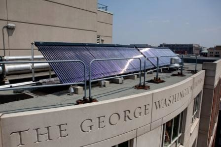 A solar water heating system installed on the roof of George Washington University in Washington, DC.