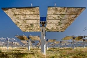 solar panels reflecting grass