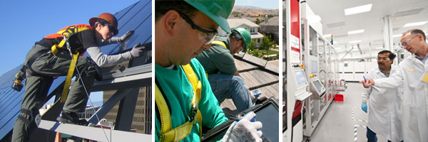 Solar installers and manufacturing engineers