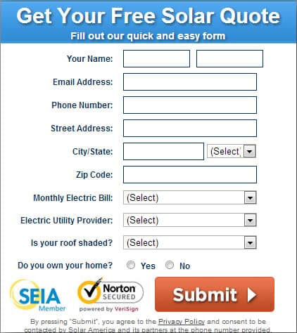 Free solar quote form